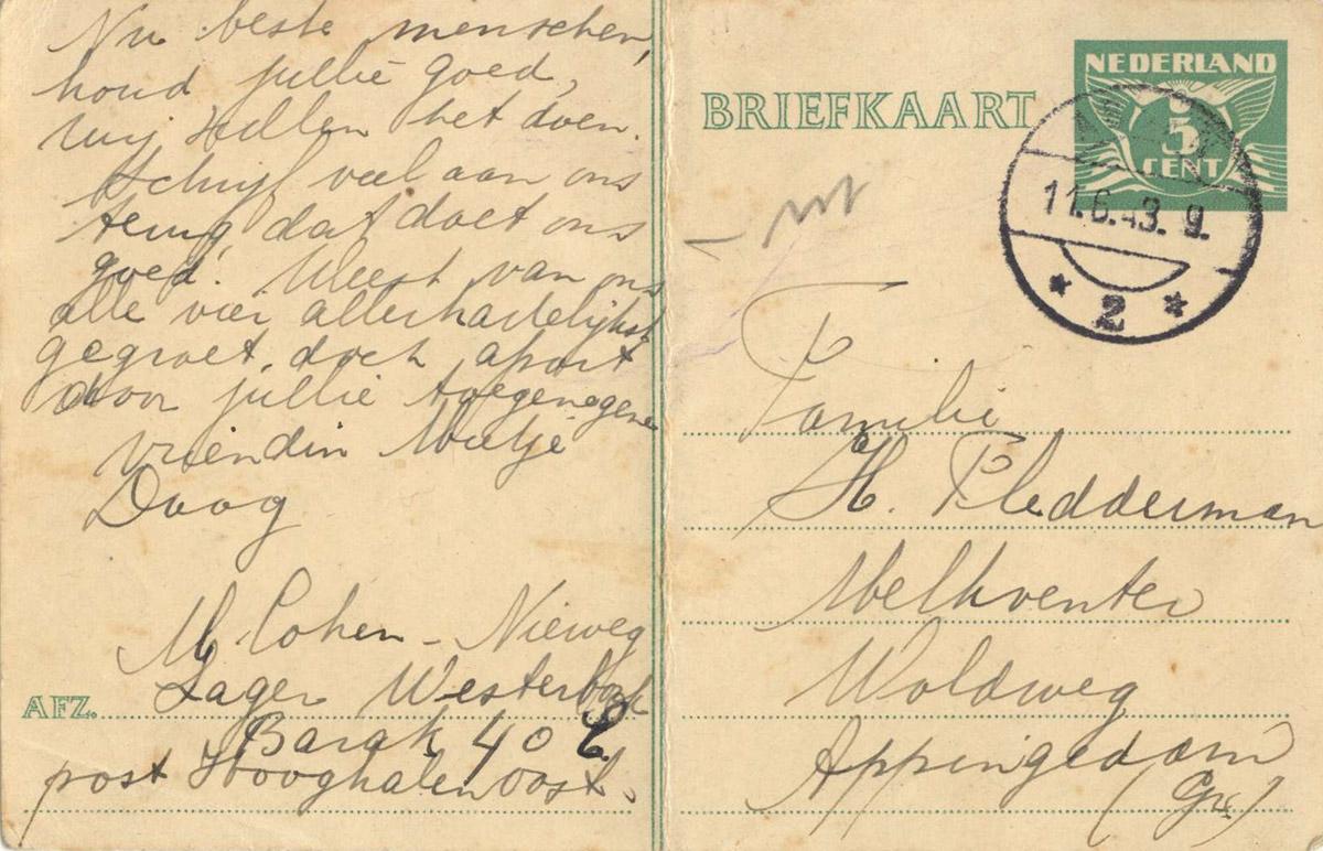 Briefkaart Mietje uit Westerbork 09-06-1943 achterkant