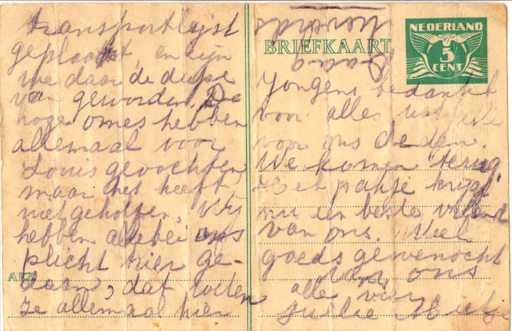 briefkaart 20 juli 1943 voorkant