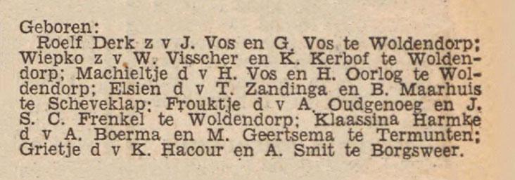 Geboortevermelding Frouktje Oudgenoeg (Nieuwsblad van het Noorden, 12 oktober 1940)
