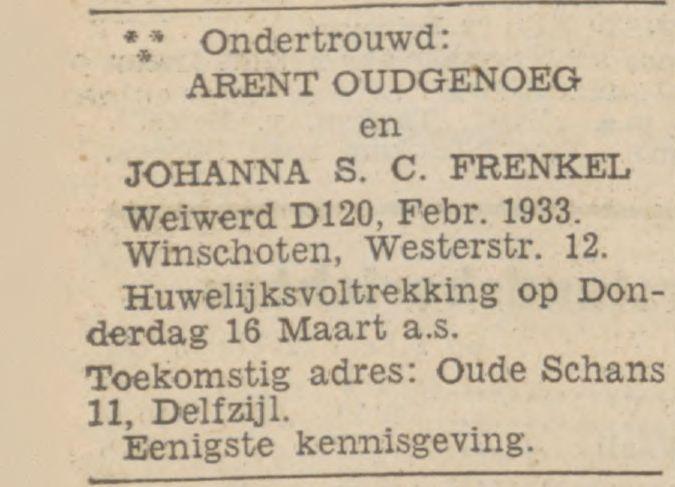 Familiebericht in Nieuwsblad van het Noorden. Trouwaankondiging Arent en Johanna