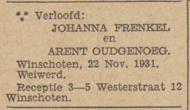Verlovingsvermelding Johanna en Arent in Nieuwsblad van het Noorden