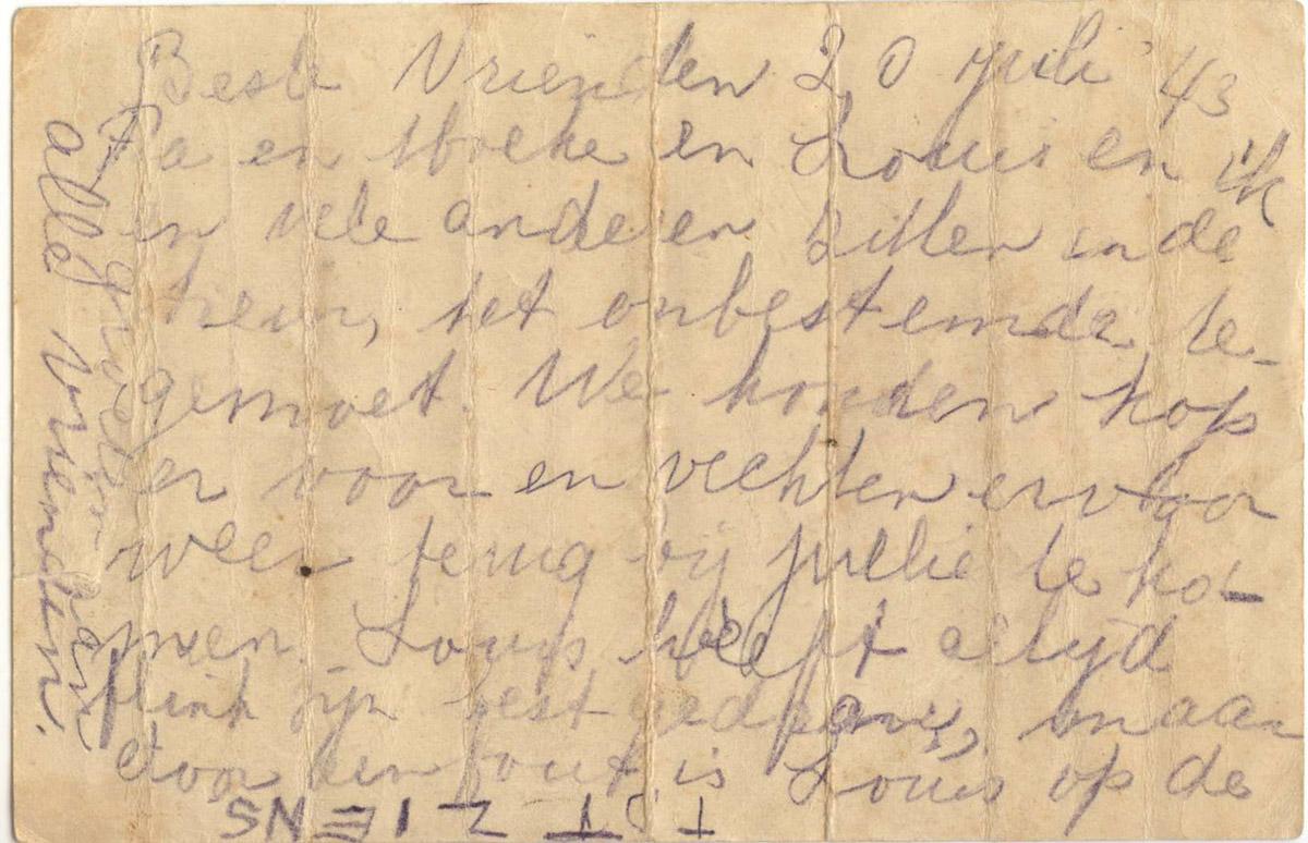 Briefkaart Mietje vanuit Westerbork in de trein naar Sobibor op 20-07-1943 (achterkant)