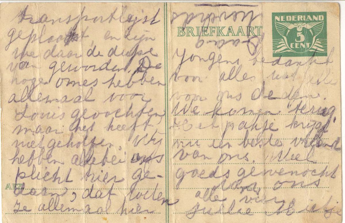Briefkaart Mietje vanuit Westerbork in de trein naar Sobibor op 20-07-1943 (voorkant)
