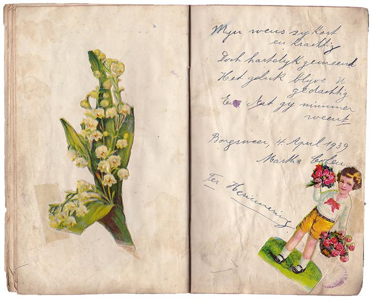 Inge's versje in poesiealbum van haar vriendin Trijn